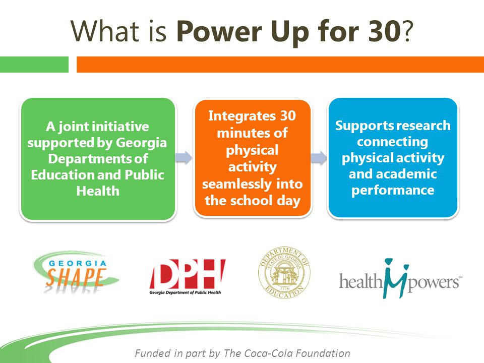 Power Up for 30 Mantra Funded in part by The Coca-Cola Foundation 30 minutes Every Day Every School Every Child