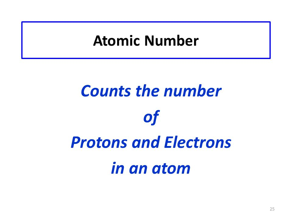 25 Atomic Number Counts the number of Protons and Electrons in an atom