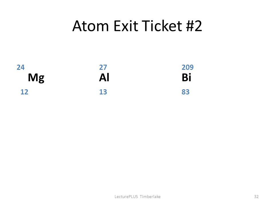 Atom Exit Ticket #2 2427209 MgAlBi 121383 LecturePLUS Timberlake32