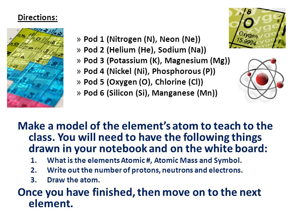 Directions: » Pod 1 (Nitrogen (N), Neon (Ne)) » Pod 2 (Helium (He), Sodium (Na)) » Pod 3 (Potassium (K), Magnesium (Mg)) » Pod 4 (Nickel (Ni), Phospho