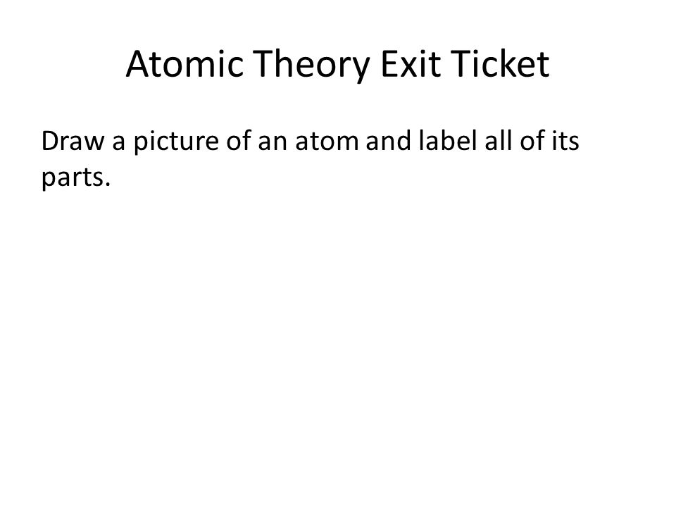 Atomic Theory Exit Ticket Draw a picture of an atom and label all of its parts.