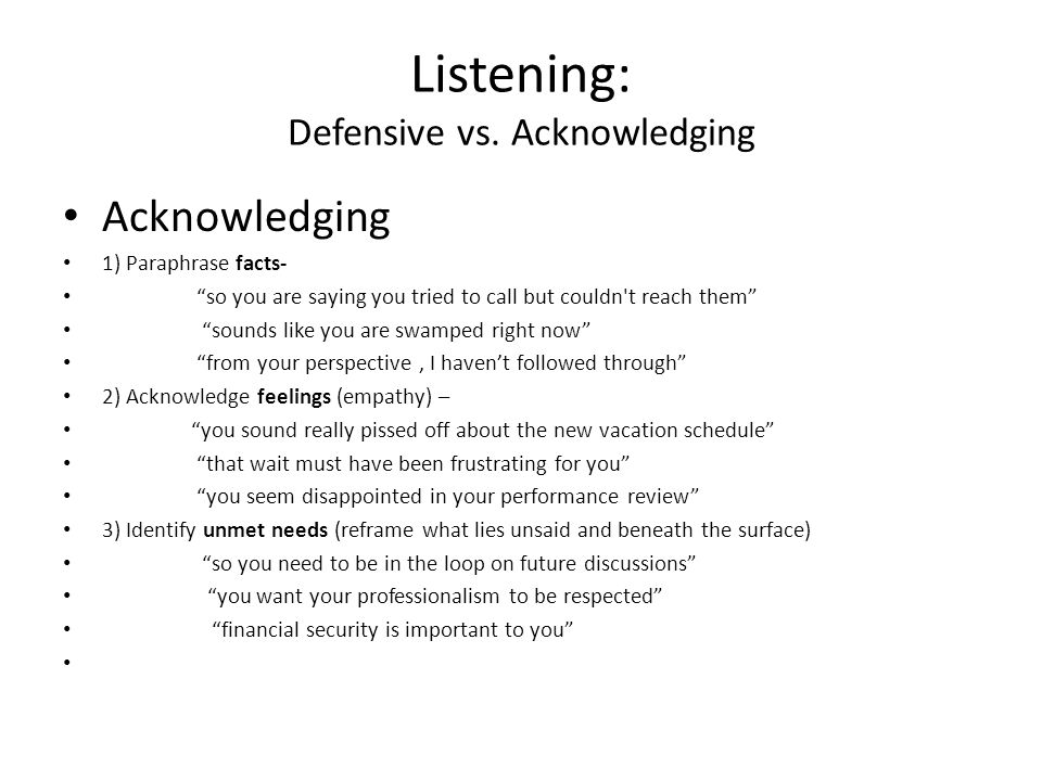 Listening: Defensive vs.