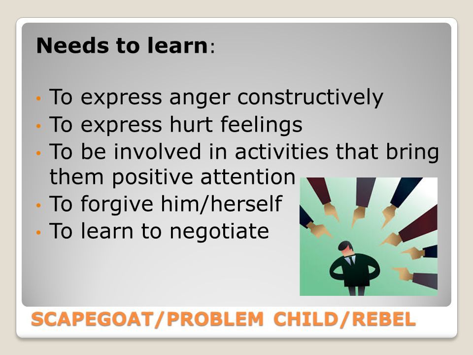 SCAPEGOAT/PROBLEM CHILD/REBEL Needs to learn : To express anger constructively To express hurt feelings To be involved in activities that bring them positive attention To forgive him/herself To learn to negotiate