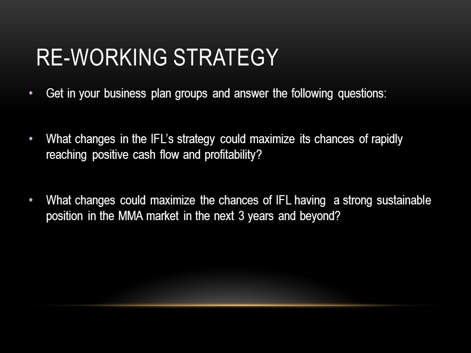 RE-WORKING STRATEGY Get in your business plan groups and answer the following questions: What changes in the IFL's strategy could maximize its chances