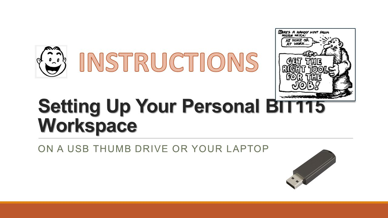 Setting Up Your Personal BIT115 Workspace ON A USB THUMB DRIVE OR YOUR LAPTOP