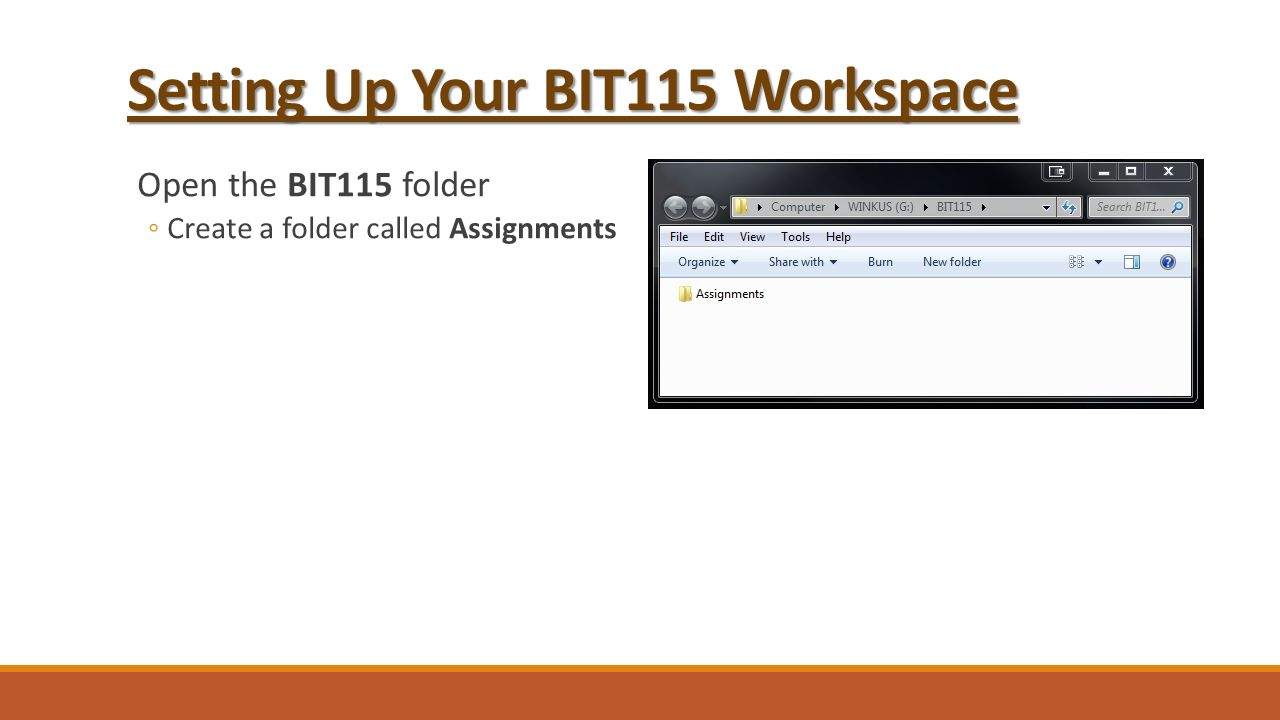 Setting Up Your BIT115 Workspace Open the BIT115 folder ◦Create a folder called Assignments