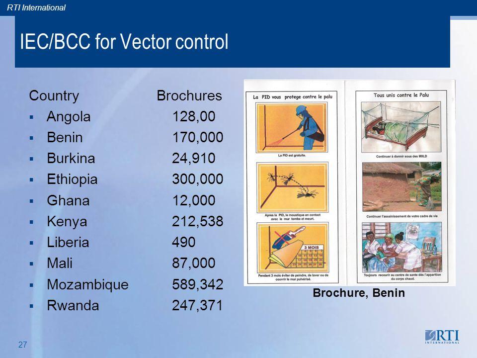 RTI International 27 IEC/BCC for Vector control Brochure, Benin Country Brochures  Angola128,00  Benin 170,000  Burkina24,910  Ethiopia300,000  G