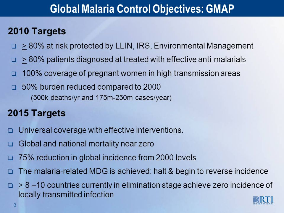 RTI International 3 2010 Targets  > 80% at risk protected by LLIN, IRS, Environmental Management  > 80% patients diagnosed at treated with effective