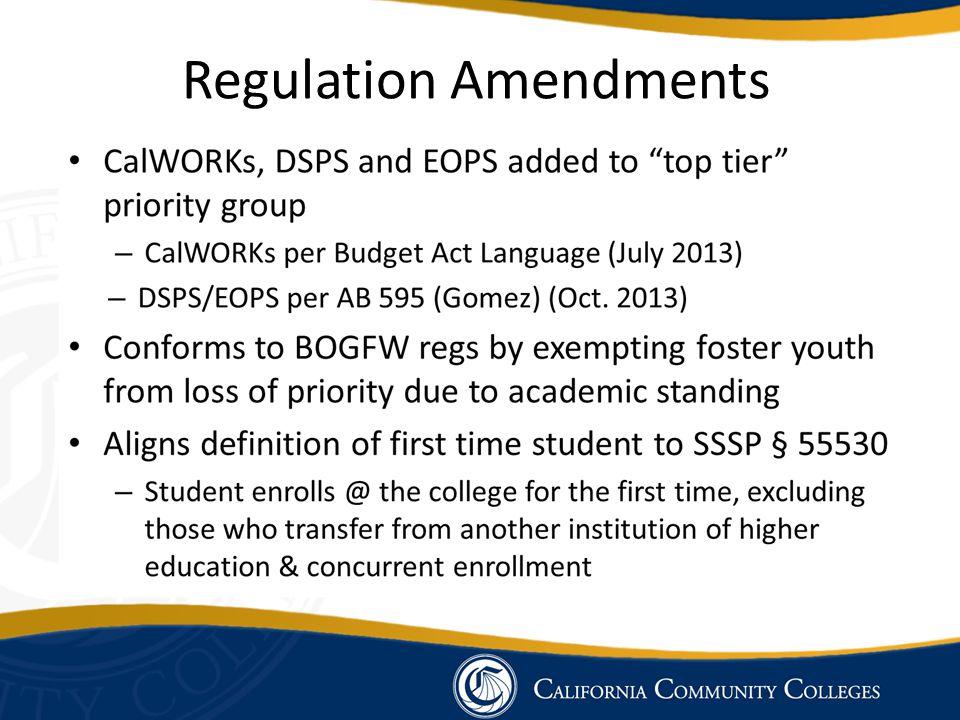 Regulation Amendments