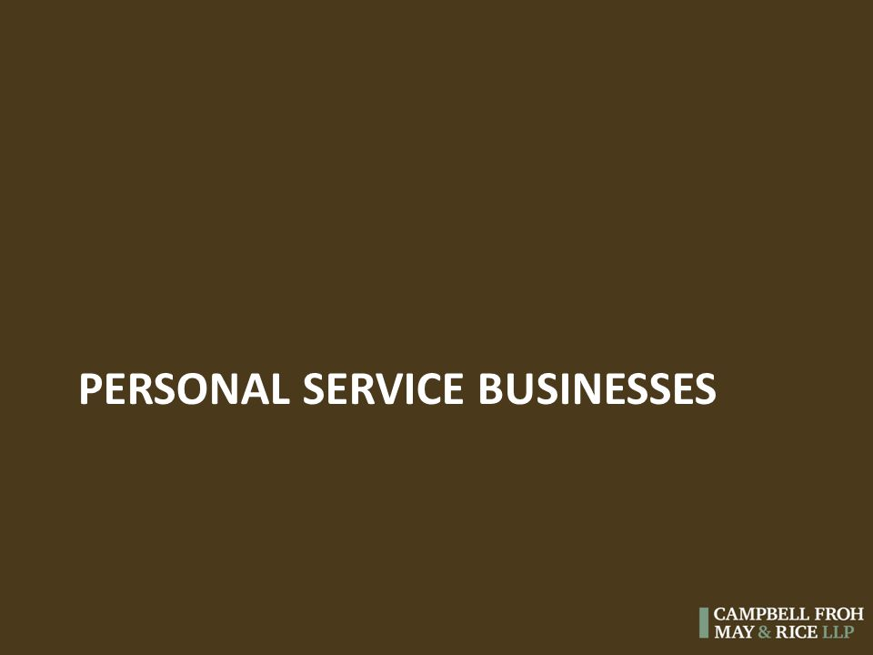 PERSONAL SERVICE BUSINESSES
