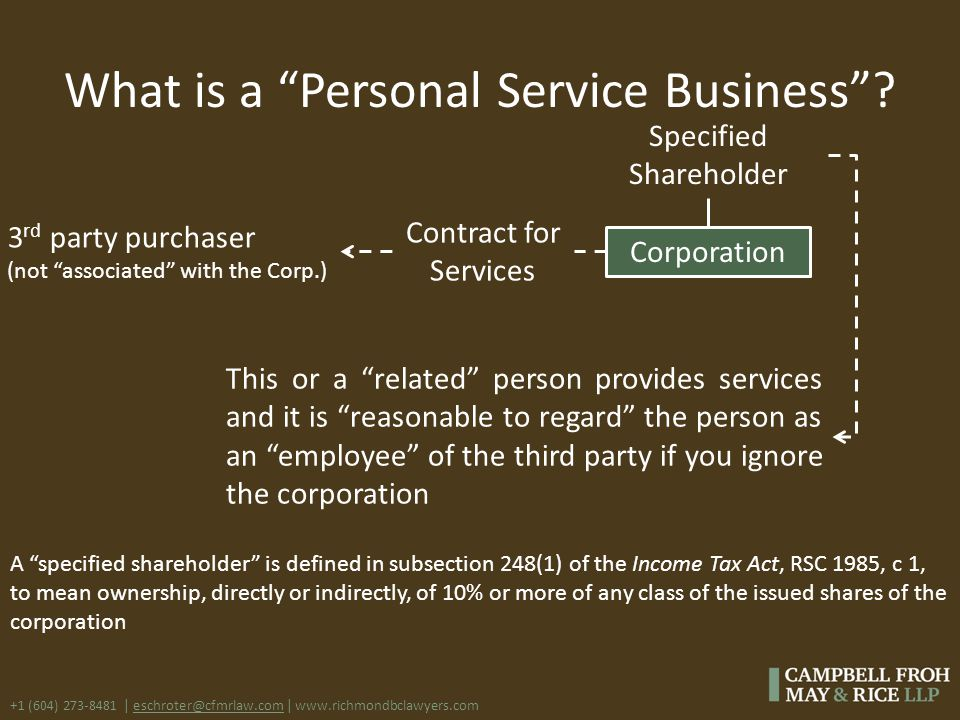 "+1 (604) 273-8481 | eschroter@cfmrlaw.com | www.richmondbclawyers.com What is a ""Personal Service Business""? Corporation This or a ""related"" person pr"