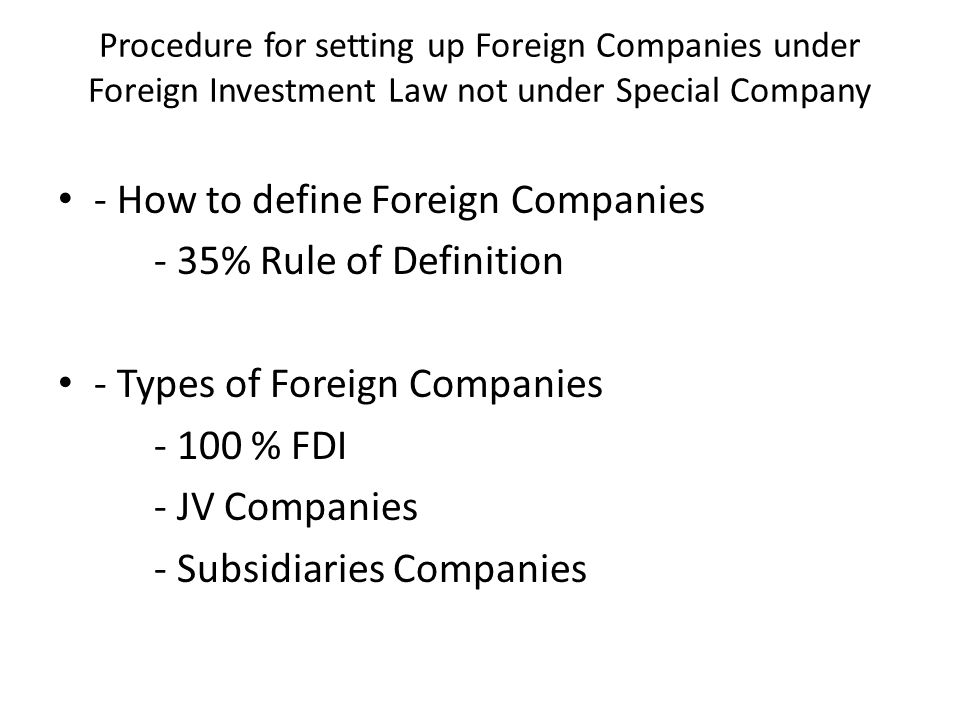 Procedure for setting up foreign branch / representative office -How to define the Foreign Branch / Representative Office of foreign company incorporated outside Myanmar - What procedures require for setting up foreign branch / representative office
