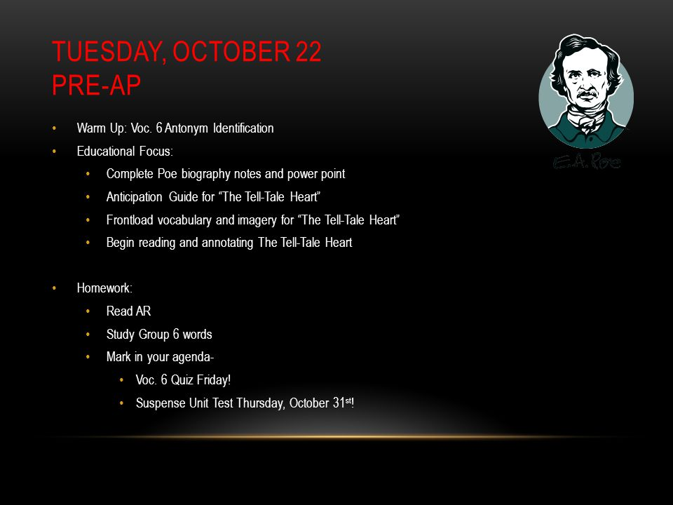 TUESDAY, OCTOBER 22 PRE-AP Warm Up: Voc.