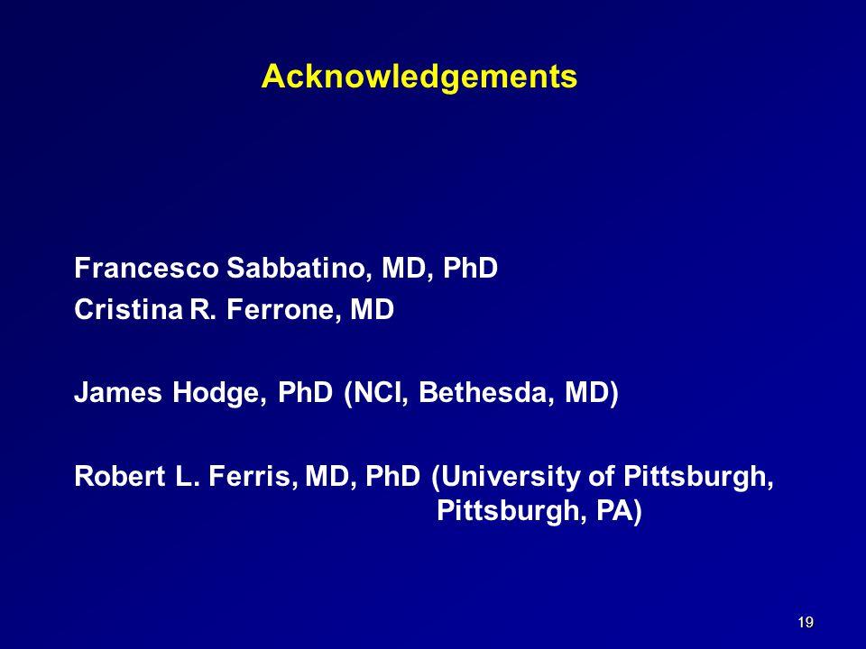 19 Acknowledgements Francesco Sabbatino, MD, PhD Cristina R. Ferrone, MD James Hodge, PhD (NCI, Bethesda, MD) Robert L. Ferris, MD, PhD (University of