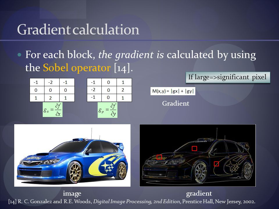 Gradient calculation For each block, the gradient is calculated by using the Sobel operator [14].