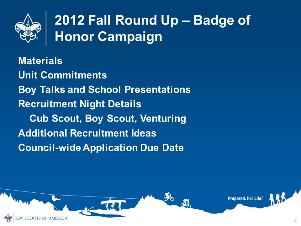 2012 Fall Round Up – Badge of Honor Campaign Materials Unit Commitments Boy Talks and School Presentations Recruitment Night Details Cub Scout, Boy Scout, Venturing Additional Recruitment Ideas Council-wide Application Due Date 4