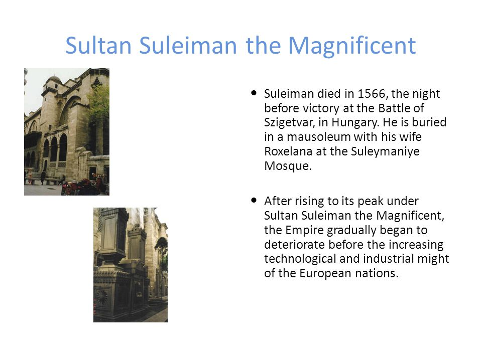 Sultan Suleiman the Magnificent Suleiman died in 1566, the night before victory at the Battle of Szigetvar, in Hungary. He is buried in a mausoleum wi