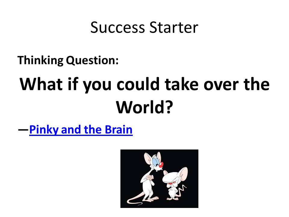 Success Starter Thinking Question: What if you could take over the World? —Pinky and the BrainPinky and the Brain
