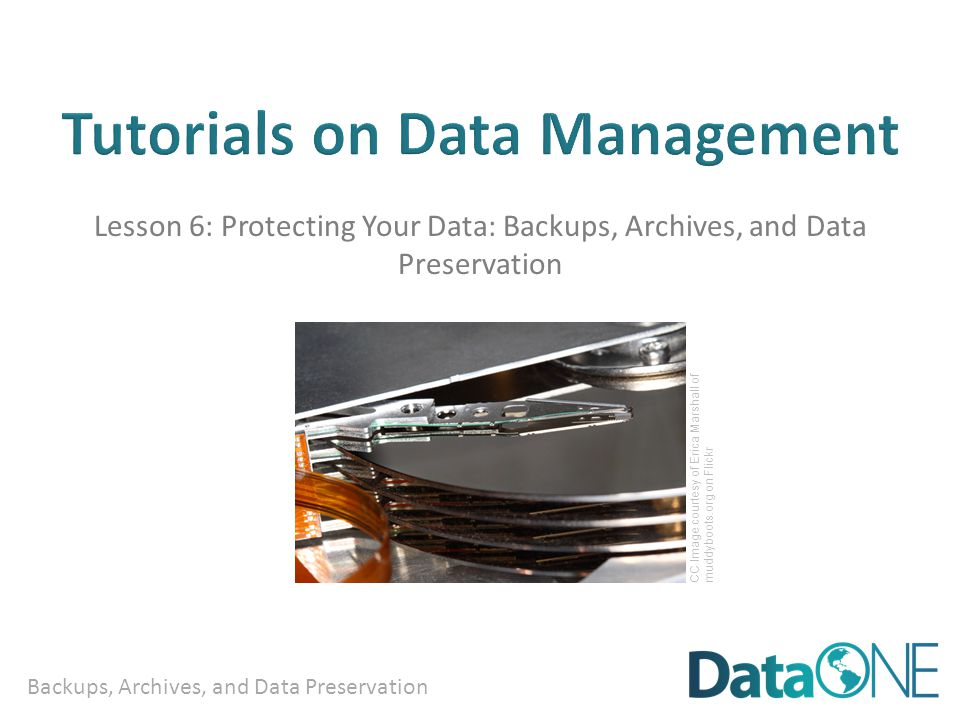 Backups, Archives, and Data Preservation Lesson 6: Protecting Your Data: Backups, Archives, and Data Preservation CC Image courtesy of Erica Marshall of muddyboots.org on Flickr