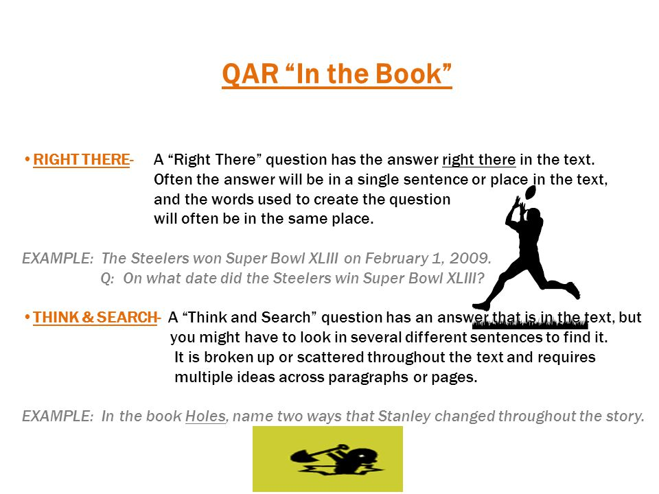 QAR In My Head AUTHOR & ME- With an Author and Me question, the answer is not directly in the text, but you still need information the author has given you, combined with what you already know, in order to respond to this type of question.