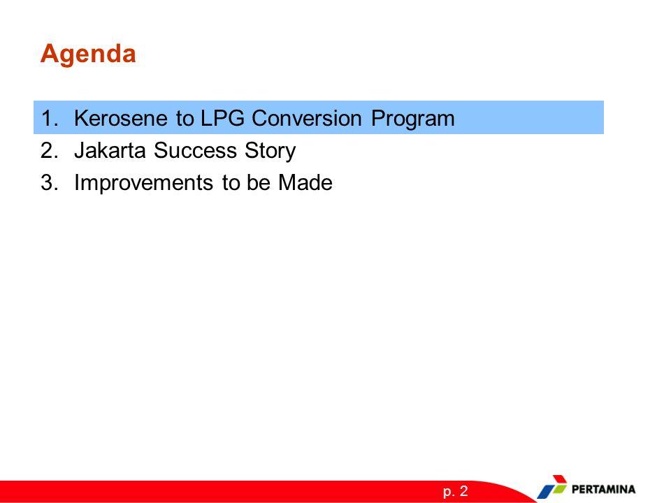 p. 2 Agenda 1.Kerosene to LPG Conversion Program 2.Jakarta Success Story 3.Improvements to be Made