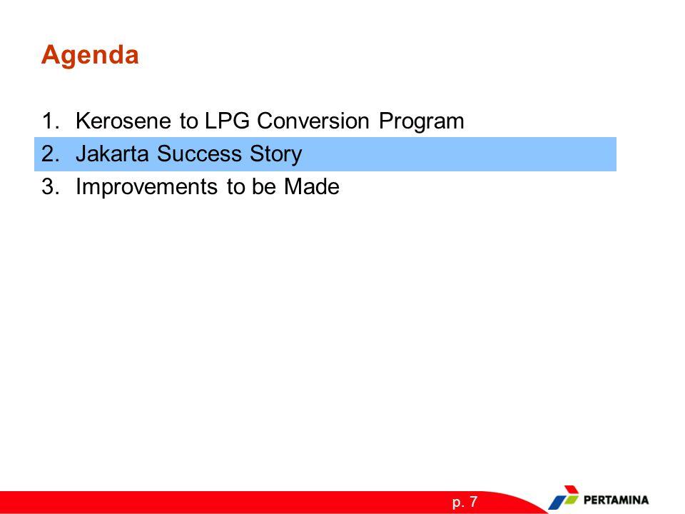 p. 7 Agenda 1.Kerosene to LPG Conversion Program 2.Jakarta Success Story 3.Improvements to be Made