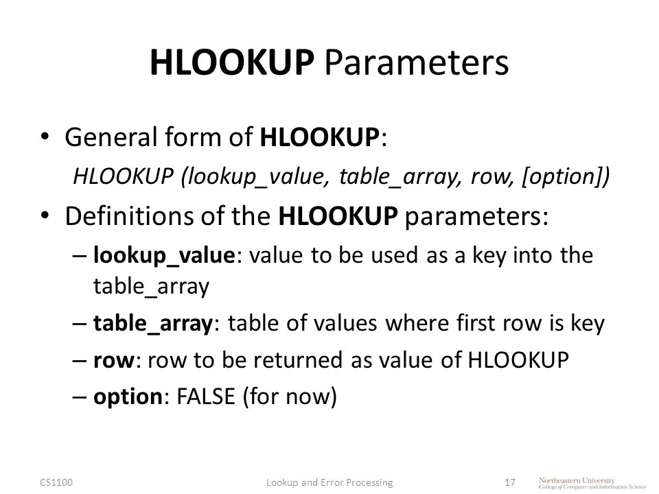 HLOOKUP Parameters General form of HLOOKUP: HLOOKUP (lookup_value, table_array, row, [option]) Definitions of the HLOOKUP parameters: – lookup_value: value to be used as a key into the table_array – table_array: table of values where first row is key – row: row to be returned as value of HLOOKUP – option: FALSE (for now) CS1100Lookup and Error Processing17