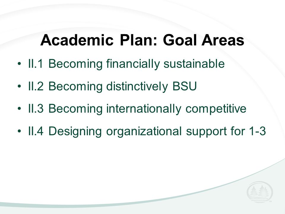 Academic Plan: Goal Areas II.1 Becoming financially sustainable II.2 Becoming distinctively BSU II.3 Becoming internationally competitive II.4 Designing organizational support for 1-3
