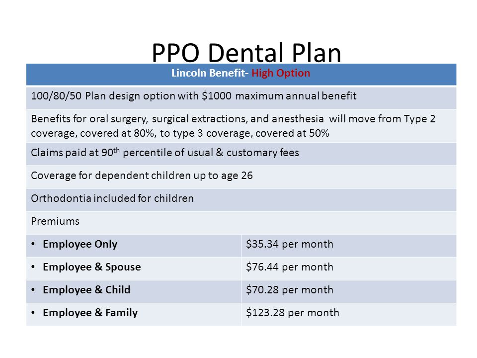 PPO Dental Plan Lincoln Benefit- High Option 100/80/50 Plan design option with $1000 maximum annual benefit Benefits for oral surgery, surgical extractions, and anesthesia will move from Type 2 coverage, covered at 80%, to type 3 coverage, covered at 50% Claims paid at 90 th percentile of usual & customary fees Coverage for dependent children up to age 26 Orthodontia included for children Premiums Employee Only$35.34 per month Employee & Spouse$76.44 per month Employee & Child$70.28 per month Employee & Family$123.28 per month