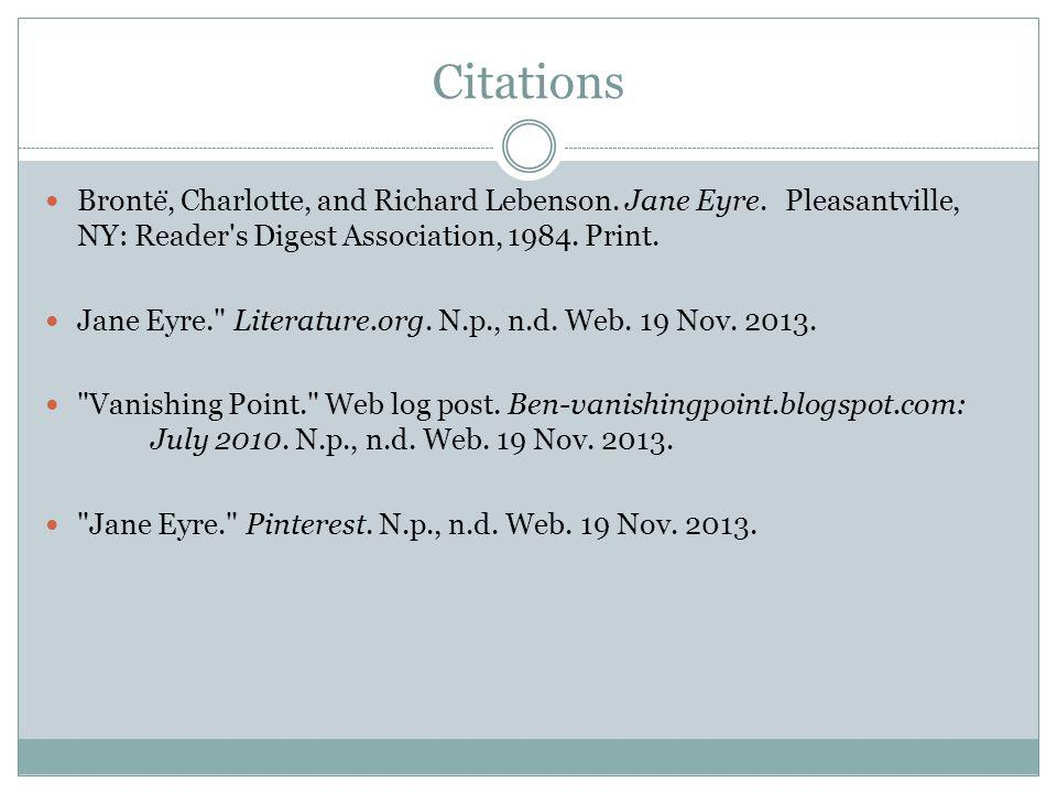 Citations Bronte ̈, Charlotte, and Richard Lebenson.