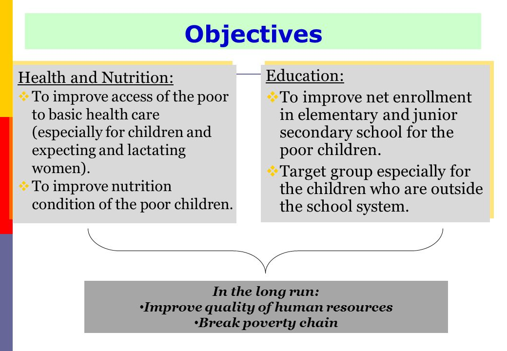 Health and Nutrition:  To improve access of the poor to basic health care (especially for children and expecting and lactating women).