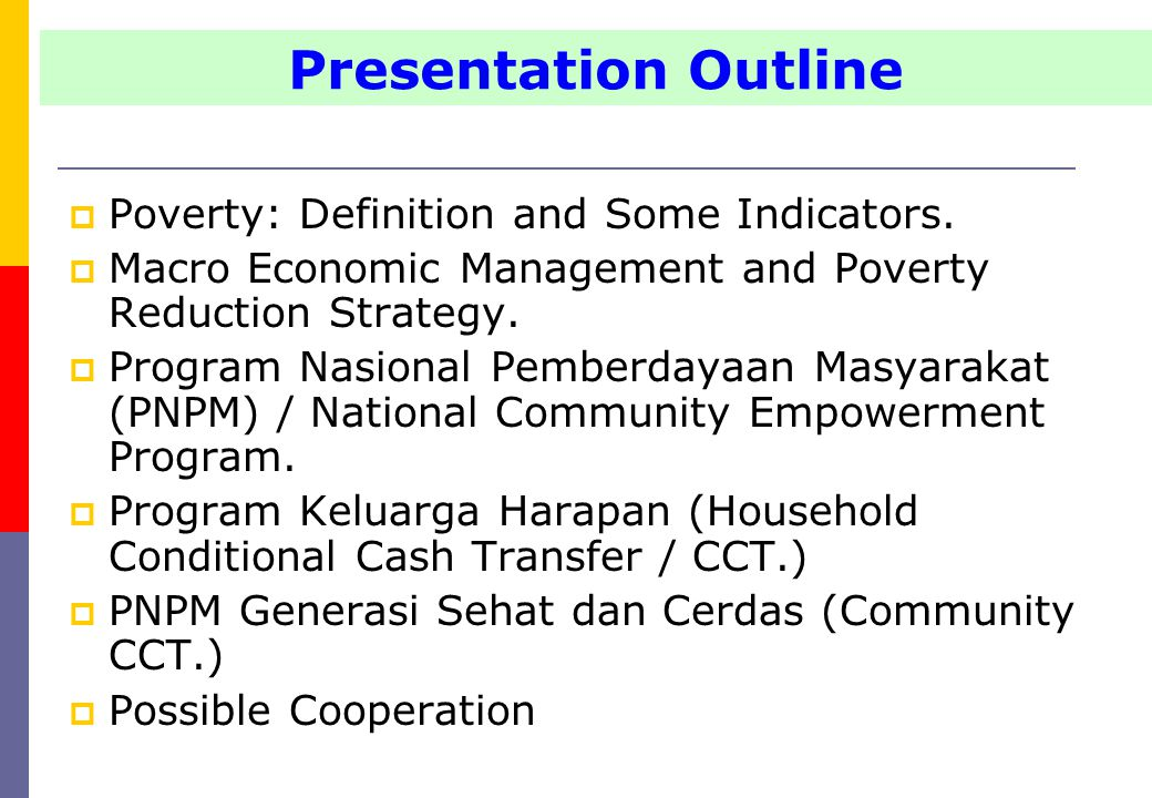  Poverty: Definition and Some Indicators.