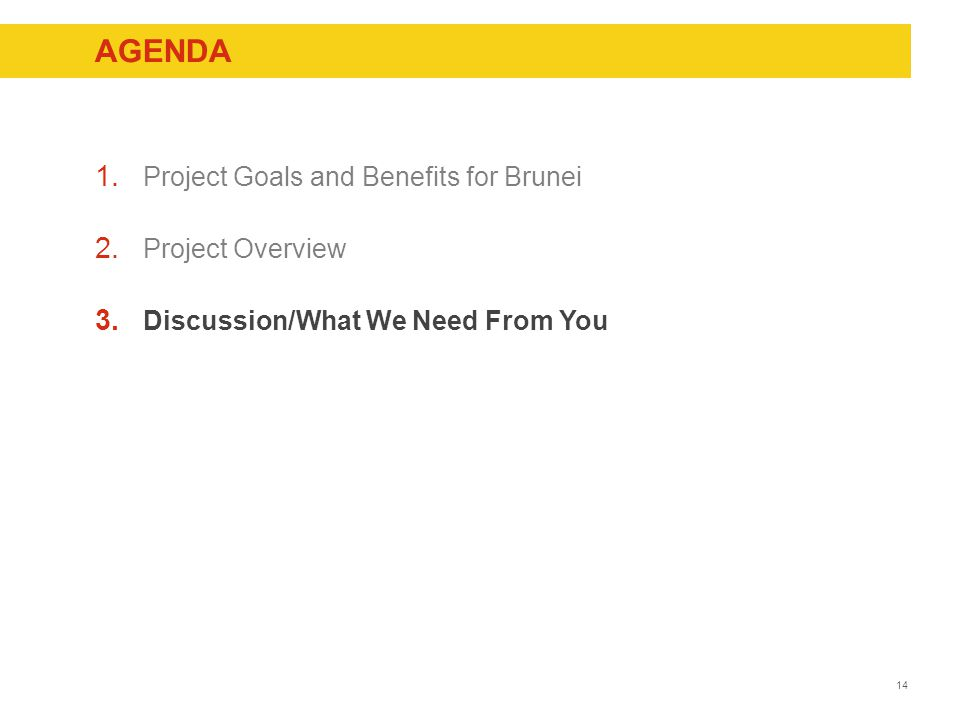 14 AGENDA 1. Project Goals and Benefits for Brunei 2.
