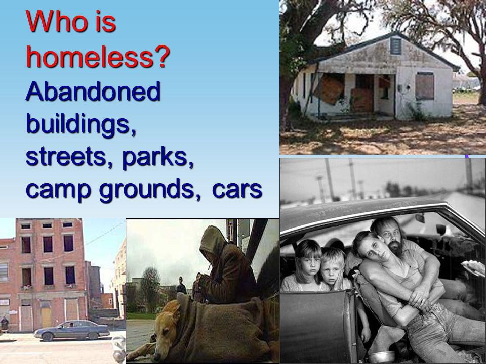 Who is homeless?Abandonedbuildings, streets, parks, camp grounds, cars