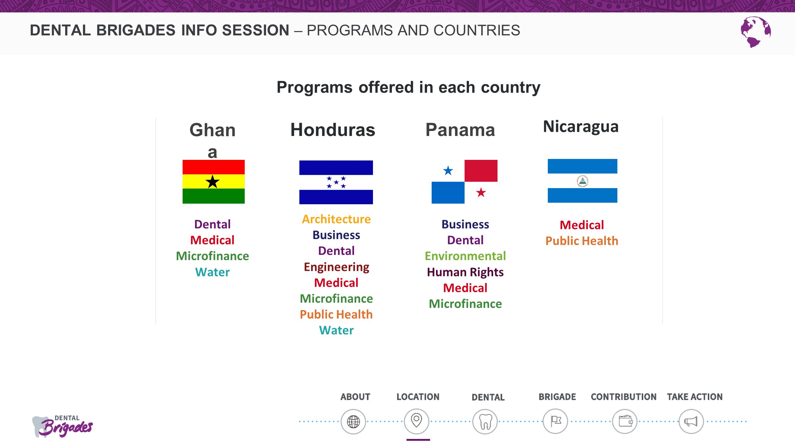 DENTAL BRIGADES INFO SESSION – PROGRAMS AND COUNTRIES Ghan a Panama Dental Medical Microfinance Water Business Dental Environmental Human Rights Medic