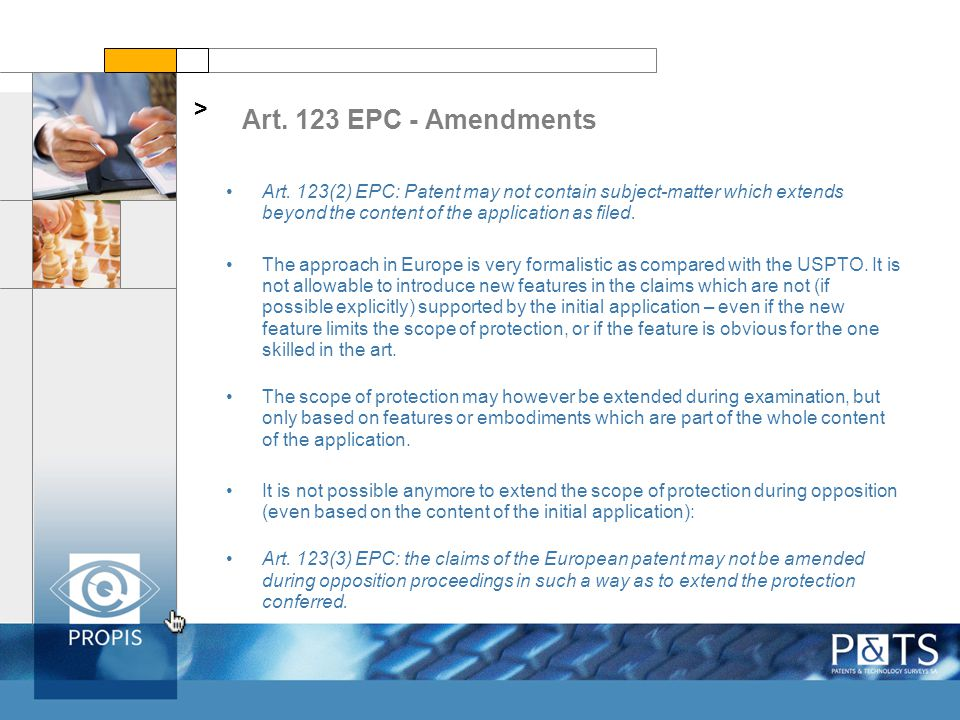 Art. 123 EPC - Amendments > Art.
