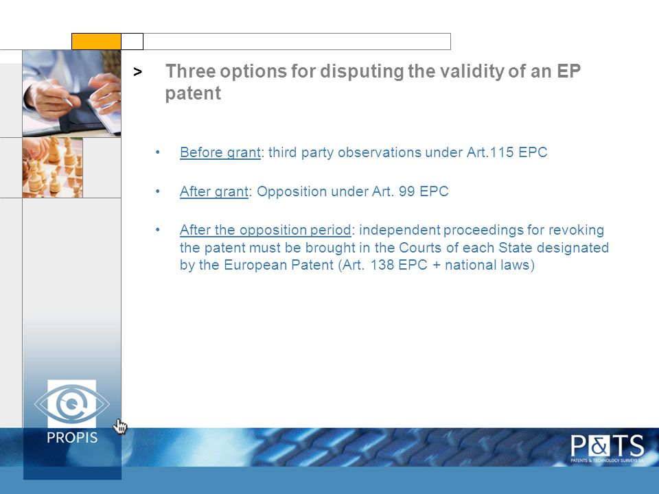 Three options for disputing the validity of an EP patent > Before grant: third party observations under Art.115 EPC After grant: Opposition under Art.