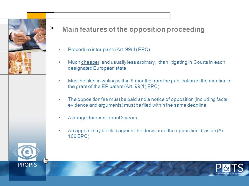 Main features of the opposition proceeding > Procedure inter-parte (Art.