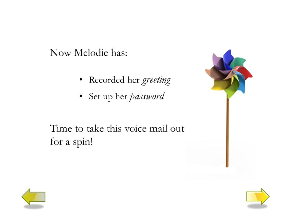 Now Melodie has: Recorded her greeting Set up her password Time to take this voice mail out for a spin!
