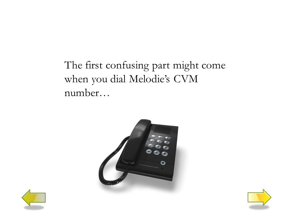 The first confusing part might come when you dial Melodie's CVM number…