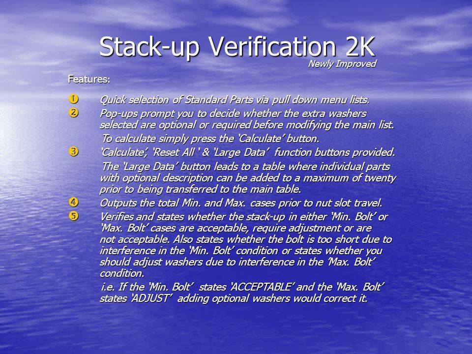 Stack-up Verification Sheet 1