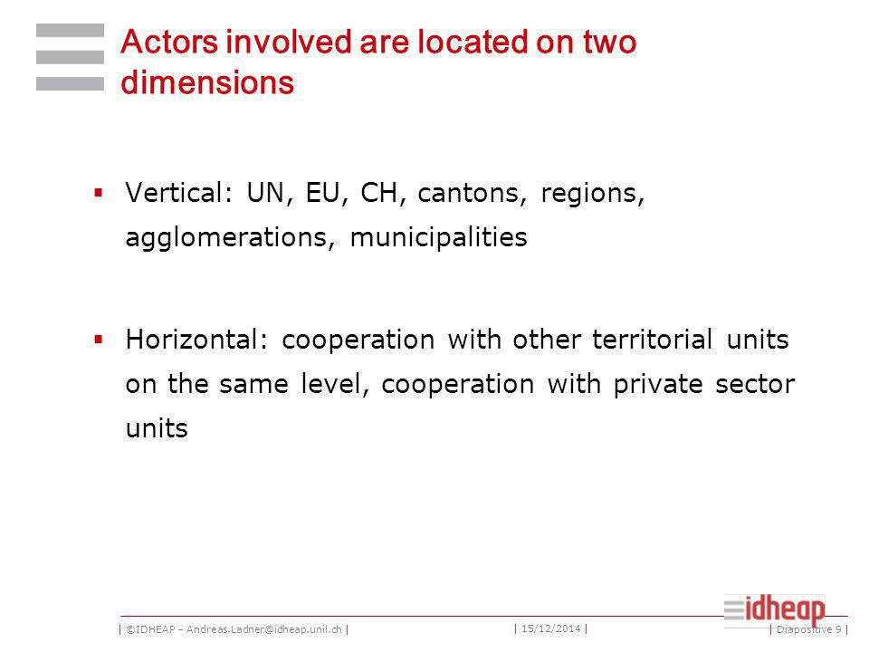 | ©IDHEAP – Andreas.Ladner@idheap.unil.ch | | 15/12/2014 | Actors involved are located on two dimensions  Vertical: UN, EU, CH, cantons, regions, agglomerations, municipalities  Horizontal: cooperation with other territorial units on the same level, cooperation with private sector units | Diapositive 9 |