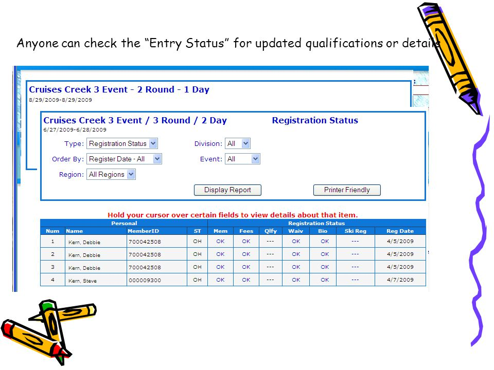 Anyone can check the Entry Status for updated qualifications or details From the pull down menu's, the skier can check out the competition and the registrar can track the entries