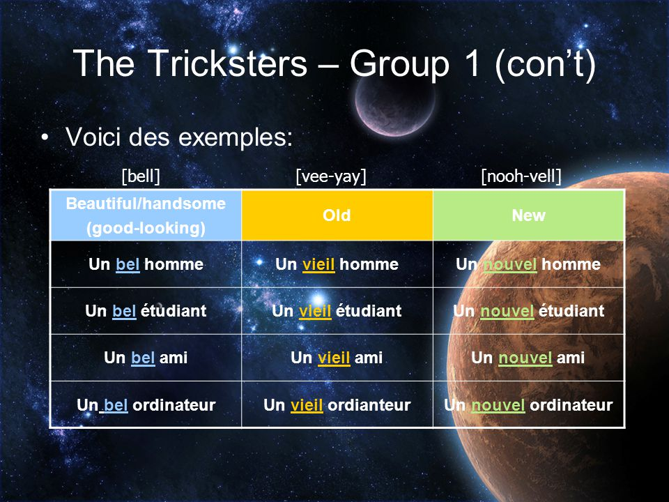 The Tricksters – Group 1 (con't) The second m.s. form is for describing masculine singular nouns that start with a vowel sound. Can you think of any e