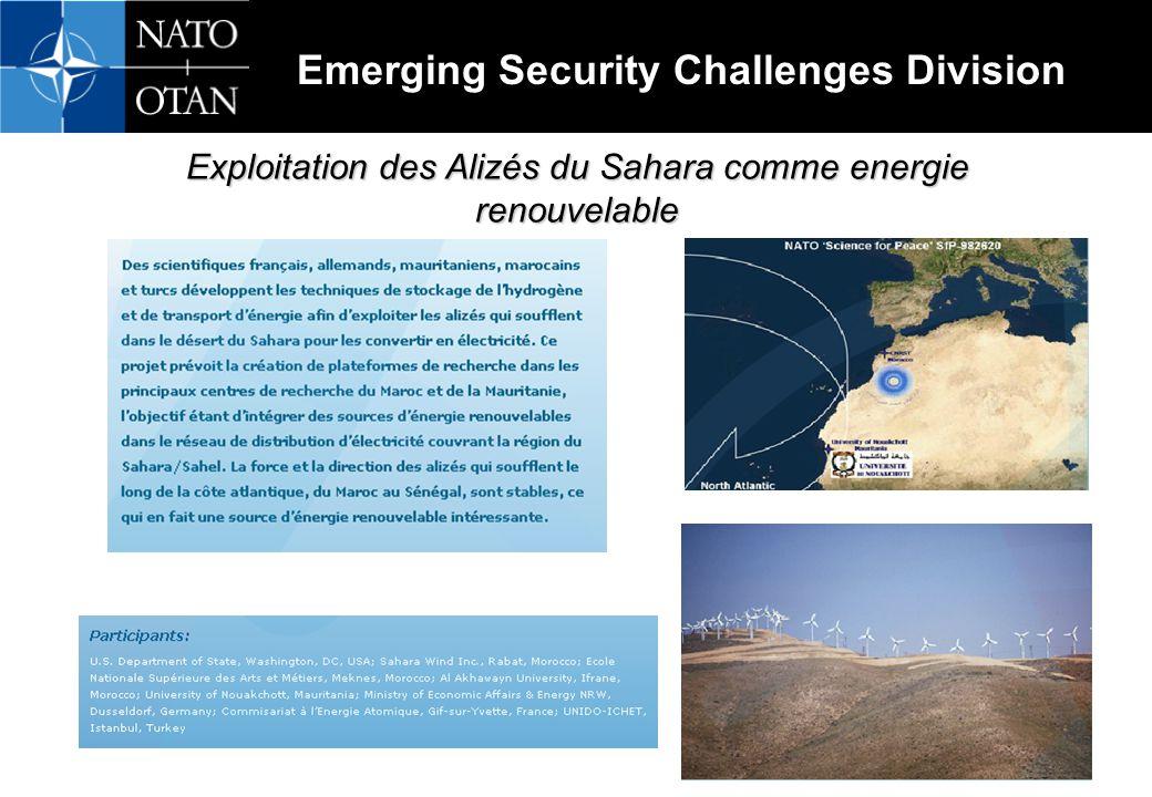 Emerging Security Challenges Division Exploitation des Alizés du Sahara comme energie renouvelable