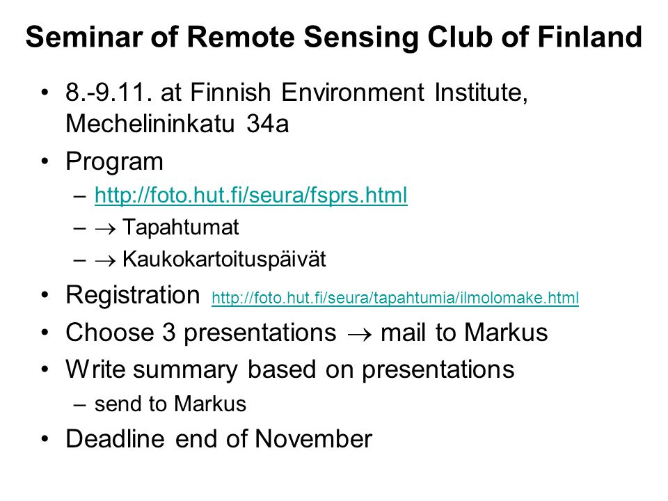 Seminar of Remote Sensing Club of Finland 8.-9.11.