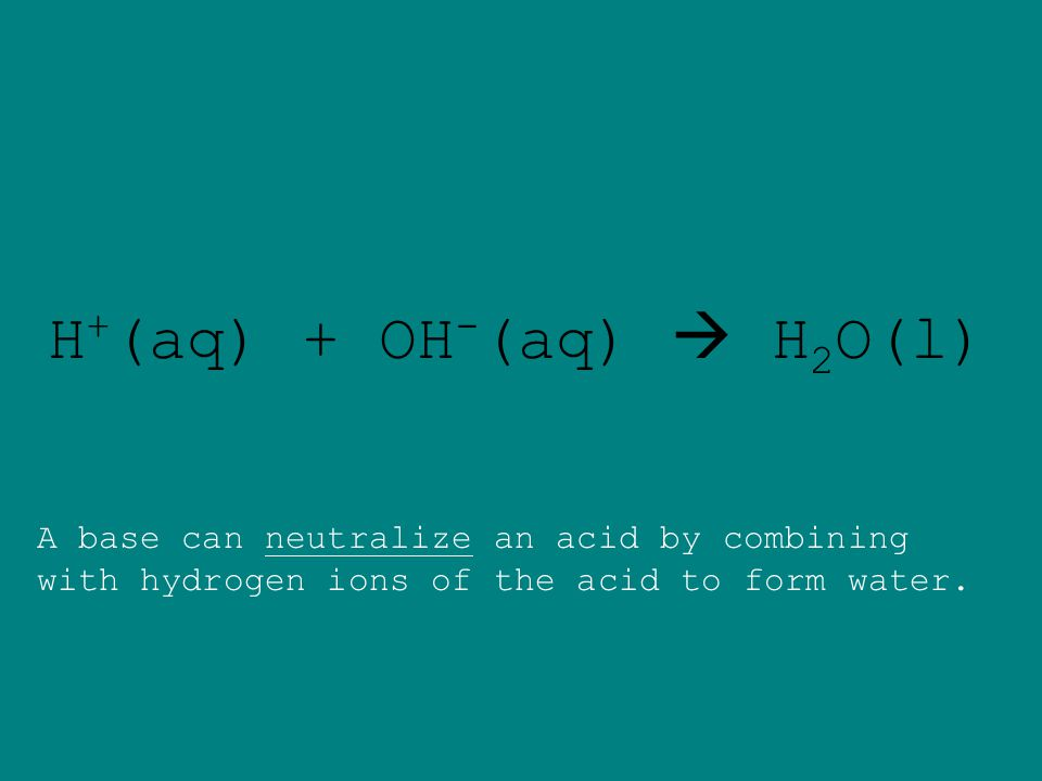Solutions characterized by the formation of hydroxide ions (OH - ) are bases. Solutions containing a substance that produces hydrogen ions (H + ) in w
