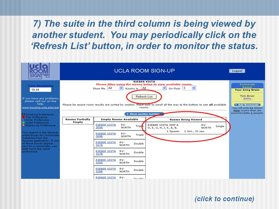(click to continue) 7) The suite in the third column is being viewed by another student.