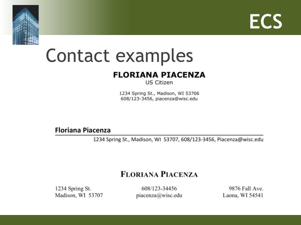 ECS Contact examples