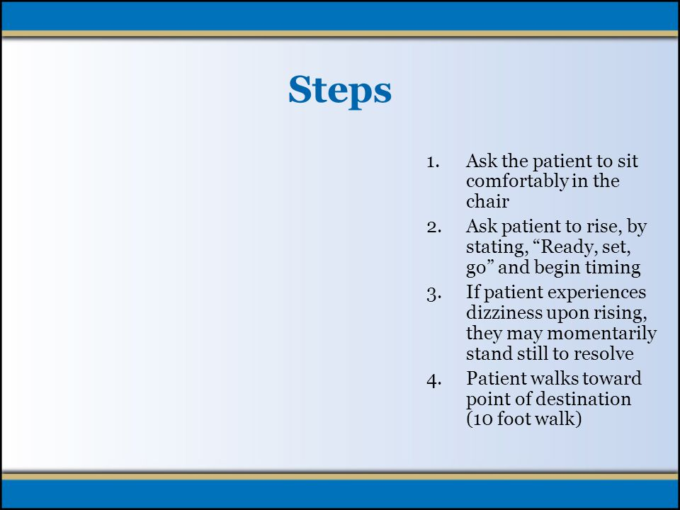 Patient Demonstration Preparation: Explain screening and steps Assess for eyeglasses and/or assistive devices